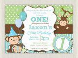 Monkey themed Birthday Party Invitations Boys Blue and Green Monkey 1st Birthday Invitation