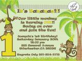 Monkey themed Birthday Party Invitations Monkey themed Birthday Invitation Wording First Birthday