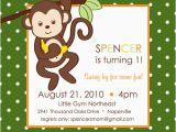 Monkey themed Birthday Party Invitations Monkey themed Play Group Birthday Party