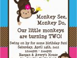 Monkey themed Birthday Party Invitations Twins Monkey Birthday Invitations Printable Party Invite