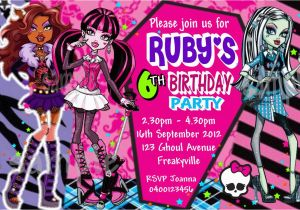Monster High Birthday Invitations Online 8 Best Images Of