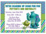 Monster Inc Birthday Invitations Monsters Inc Birthday Invitation Custom Digital File