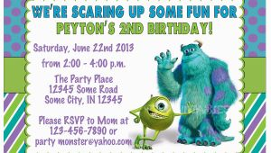 Monster Inc Birthday Invitations Monsters Inc Birthday Invitation Custom Digital File