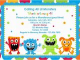 Monster themed Birthday Invitations Adorable Monster Birthday Invitations