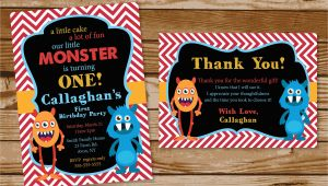 Monster themed Birthday Invitations Monster themed Birthday Party Invitations Printing by