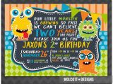 Monster themed Birthday Party Invitations Little Monster Birthday Invitation Boy or Girl Birthday