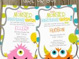 Monster themed Birthday Party Invitations Monster Birthday Party Invitation