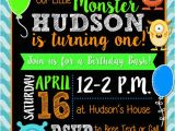 Monster themed Birthday Party Invitations Monster themed Birthday Invitation