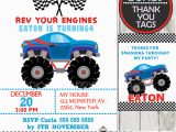 Monster Truck Birthday Invitations Free Printable Blue Monster Truck Birthday Invitation Personalized D3
