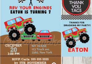Monster Truck Birthday Invitations Free Printable Monster Truck Birthday Party Invitation Personalized D1