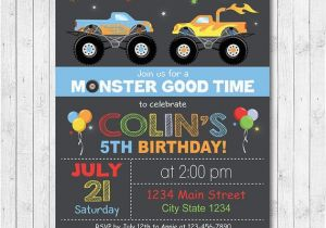 Monster Truck Birthday Invitations Free Printable Monster Truck Invitation Monster Truck Invite by