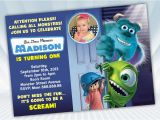 Monsters Inc Birthday Invitations Template Monster Inc Birthday Invitation