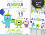 Monsters Inc Birthday Invitations Template Monsters Inc Birthday Party Invitation Card Boys