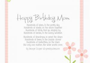Mother Birthday Card Poems Happy Mom