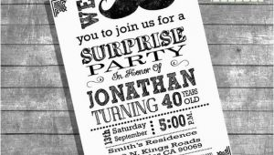 Moustache Birthday Invitations Mustache Bash Birthday Invitation Surprise Party Adult Invite