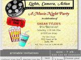 Movie Night Birthday Invitations Free Printable Items Similar to Printable Movie Night Birthday Party