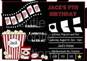 Movie Night Birthday Invitations Free Printable Movie Birthday Invitations Movie Night by Cutiestiedyeboutique