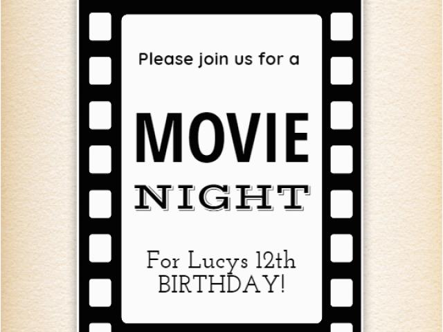 Movie Night Birthday Invitations Free Printable