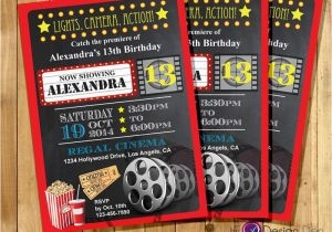 Movie theater Birthday Invitations Custom Movie Cinema theater Birthday Party Invitations Kids