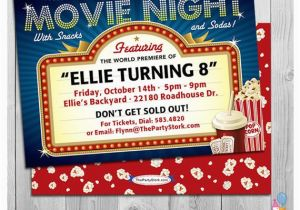Movie theater Birthday Invitations Movie Party Invitations Printable Movie Invite