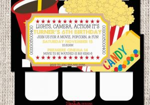 Movie theater Birthday Invitations Movie theater Birthday Invitation