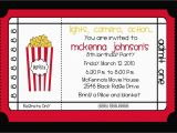 Movie theater Birthday Invitations Movie theater Birthday Party Invitation by Nattysuedesigns1