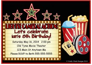 Movie theater Birthday Invitations Movie theater Birthday Party Invitations Style 2 Crafty