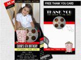 Movie theater Birthday Invitations Movie Ticket Invitations theater Birthday Party Bonus Thank