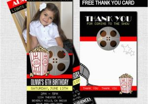 Movie theater Birthday Invitations Movie Ticket Invitations theater Birthday Party Bonus Thank