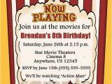 Movie theater Birthday Invitations Popcorn Movie theater Kids Birthday Invitation You Print