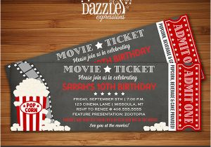 Movie theater Birthday Invitations Printable Chalkboard Movie Night Ticket Birthday