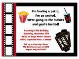 Movie theater Birthday Invitations Printable Movie Party Invitation Movie Night Invitation