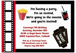 Movie theater Birthday Invitations Printable Movie Party Invitation Movie Night Invitation