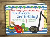 Music themed Birthday Invitations Music Birthday Party Invitation Drum Music Circle First