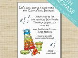 Music themed Birthday Invitations Music theme Birthday Party Invitation Cards Envelopes with