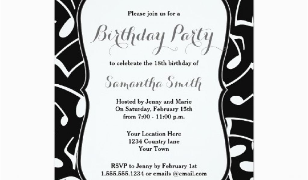 Music Themed Invitations For Birthday Notes