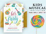 Musical Birthday Cards for Children Printable Musical Birthday Card Invitation Templates