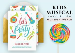 Musical Birthday Cards for Children Printable Musical Birthday Card Invitation Templates