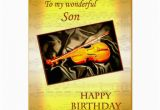 Musical Birthday Cards for son for son A Musical Birthday Card with A Violin Zazzle