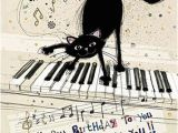 Musical Birthday Greeting Cards for Facebook Black Cat Piano Birthday Card Perfect for A Special Person