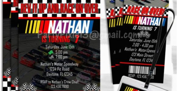 Nascar Birthday Invitations Nascar Birthday Invitations 5×7 Card or by