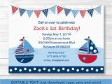 Nautical Birthday Invites Sail Away Sailboat Nautical Blue Printable Birthday