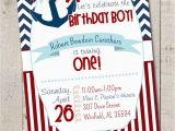 Nautical theme Birthday Invitations Nautical Birthday Boy Party Nautical First by thelovelyapple