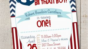 Nautical theme Birthday Invitations Nautical Birthday Boy Party Nautical First by thelovelyapple