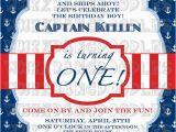 Nautical theme Birthday Invitations Nautical First Birthday Invitation