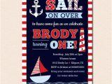 Nautical theme Birthday Invitations Sail Away Nautical theme Birthday Party Invitation No
