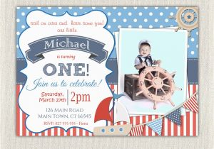Nautical themed First Birthday Invitations Boys Nautical theme 1st Birthday Invitation Printable