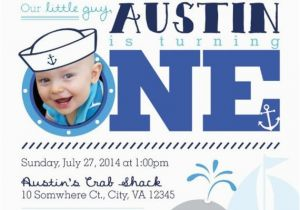 Nautical themed First Birthday Invitations First Birthday or Party Invitation Nautical Crab and Whale