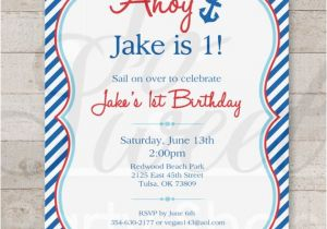 Nautical themed First Birthday Invitations Nautical 1st Birthday Invitations Boys 1st Birthday