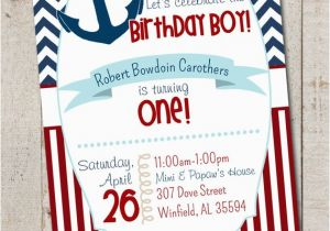 Nautical themed First Birthday Invitations Nautical Birthday Boy Party Nautical First by thelovelyapple